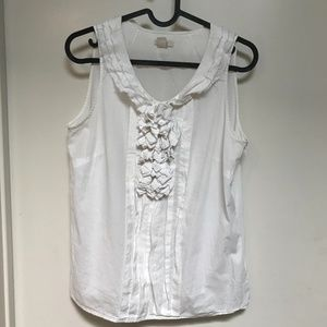J. Crew White Blouse with Ruffles Size 2